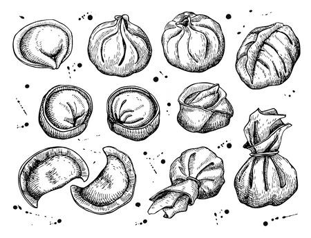 set of dumplings. Vintage sketch illustration.