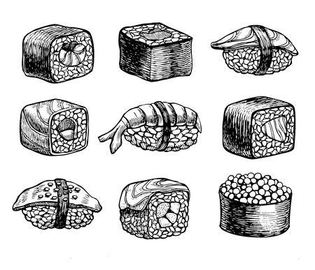 sushi chopsticks: sushi set. Vintage sketch illustration