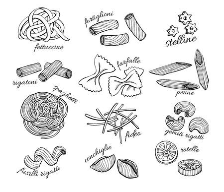 kitchen cartoon: conjunto pasta. Ilustraci�n l�nea de arte de �poca.