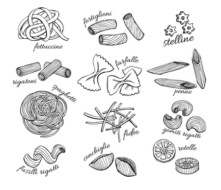 retro cartoon:  pasta set. Vintage line art illustration.