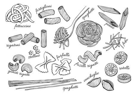 cartoon kitchen: conjunto pasta. Ilustración línea de arte de época.