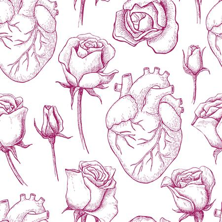 anatomical: seamless pattern with anatomical human heart and botanical roses. illustrations Illustration
