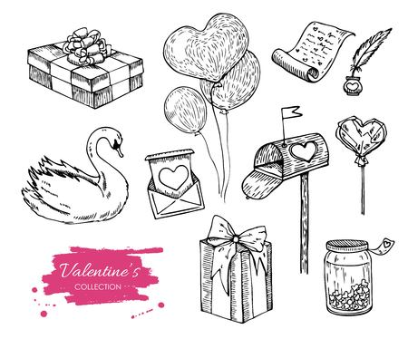etch: Vector Valentines day collection. Hand drawn illustrations. Great for wedding invitations and Valentines card