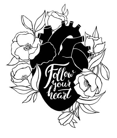 Human heart illustration with flowers and quote lettering. Great for valentine card or poster Vectores