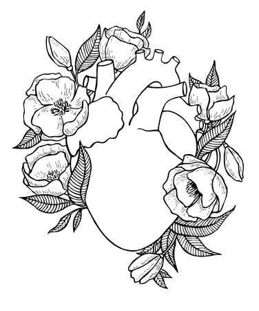 Human heart illustration with flowers. Great for valentine card or poster