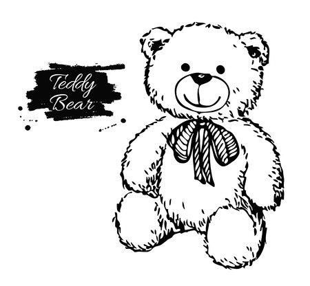Vector hand drawn teddy bear illustration. Gift toy for Valentines day, birthday, christmas, holiday.