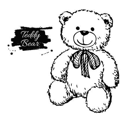 Vector hand getrokken teddybeer illustratie. Geschenk speelgoed voor Valentijnsdag, verjaardag, kerstmis, vakantie. Stock Illustratie