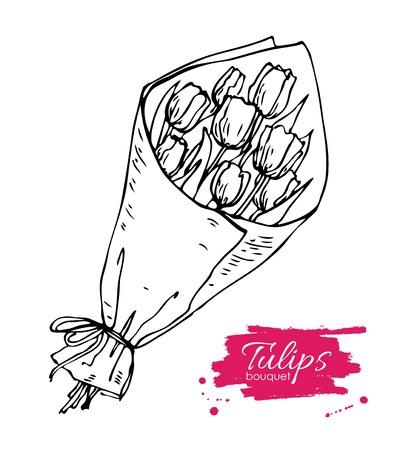 mazzo di fiori: Vector mano tulipani disegnati bouquet illustrazione. dono di fiori per San Valentino, compleanno, vacanza. Artistici disegno floreale