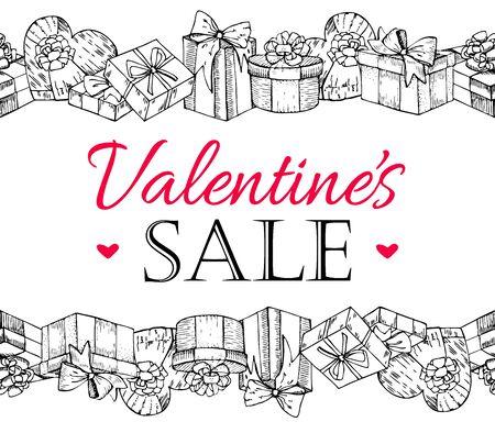 big boxes: Big Valentines Sale. Special offer and discount poster for Valentines Day.hand drawn artistic illustration with gift boxes. Gidt box seamless pattern. Illustration