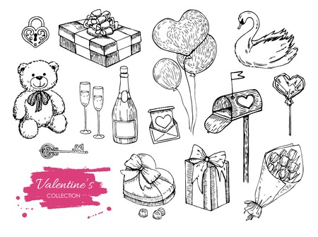 etch glass: Vector Valentines day collection. Hand drawn illustrations. Great for wedding invitations and Valentines card
