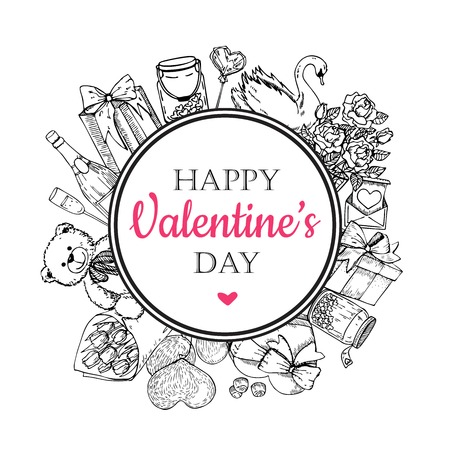 etch glass: Vector Valentines day card. Hand drawn illustrations. Great  Valentines card, banner, poster, label.