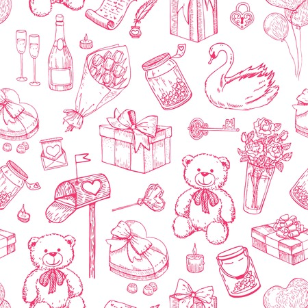 etch glass: Valentines day seamless pattern. illustrations. Great for wedding invitations and Valentines card Illustration