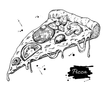lable: Pizza slice drawing.  pizza illustration. Great for menu, poster or lable. Illustration