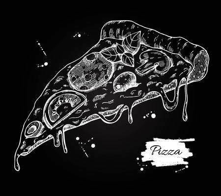 lable: Pizza slice drawing. pizza illustration. Great for menu, poster or lable.