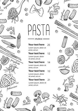 pasta menu. Vintage  line art illustration for your business