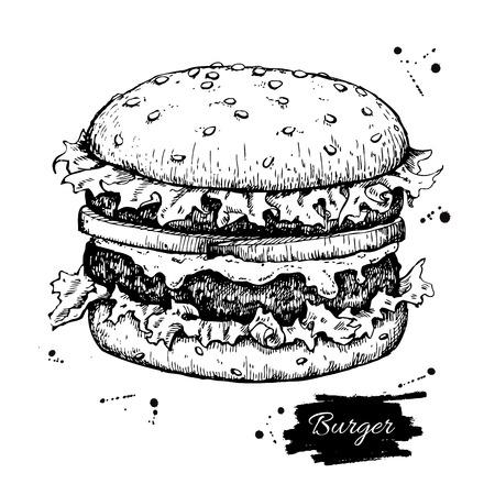 Vector hamburger cru dessin. Main monochrome dessinée fast food illustration. Grand pour le menu, une affiche ou une étiquette.