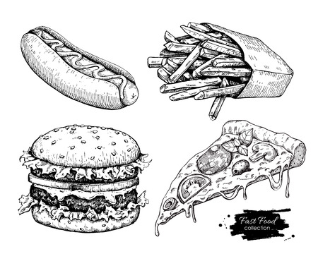 black and white line drawing: Vector vintage fast food drawing set. Hand drawn monochrome junk food illustration. Great for menu, poster or label.