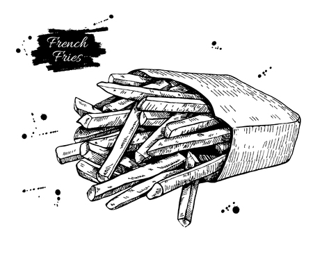 french label: Vector vintage french fries drawing. Hand drawn monochrome fast food illustration. Great for menu, poster or label.