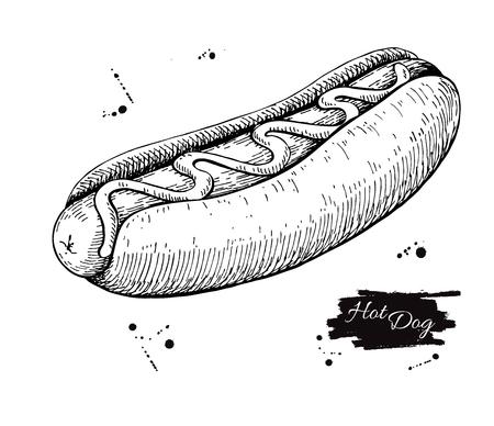 ベクトル ヴィンテージ ホットドッグを描画します。手描き白黒ファーストフードの図。メニューのポスターやラベルに最適です。