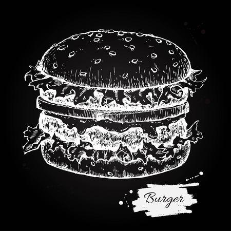Vektor Jahrgang Burger Tafel Zeichnung. Hand gezeichnet monochrome Fast-Food-Illustration. Groß für Menü, Plakat oder Etikett vorzeigen.