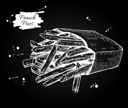 french label: Vector vintage french fries chalkboard drawing. Hand drawn monochrome fast food illustration. Great for menu, poster or label.