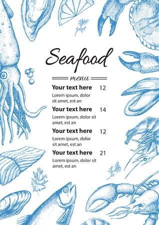 벡터 빈티지 해산물 레스토랑 메뉴 그림입니다. 손으로 그려진 된 배너입니다. 메뉴, 배너, 전단지, 카드, 해산물 비즈니스 홍보에 좋습니다.
