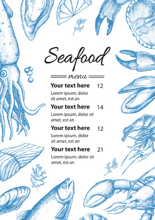 Vector vintage seafood restaurant menu illustration. Hand drawn banner. Great for menu, banner, flyer, card, seafood business promote.