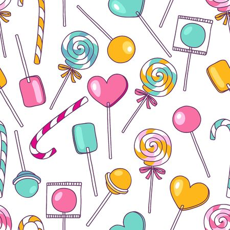 Vector doodle lollipops pattern. Bright sweet food hand drawn illustration. Cartoon candy background. Great for baby decor