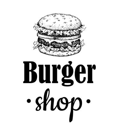 logo de comida: Vector hamburguesa arte de la etiqueta. Mano monocromático dibujado ejemplo de la comida rápida. Grande para el elemento de logotipo, cartel, icono, pegatina o etiqueta.