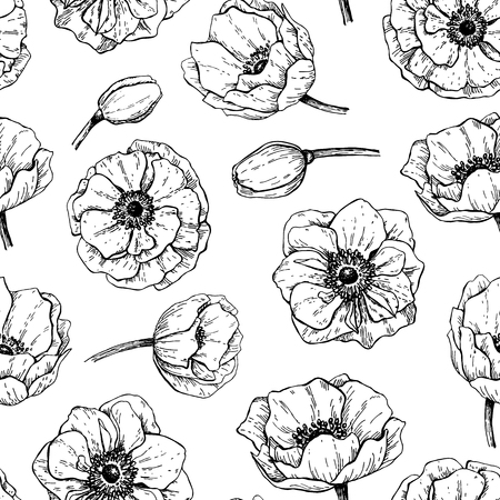 Vector vintage anemone seamless pattern. Hand drawn illustration. Great for wedding invitations, birthday, valentines, save the date and greeting cards. Engraved decor element Ilustração