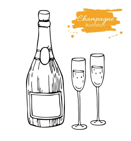 champagne celebration: Vector champagne bottle and glass. Champagne hand drawn sketch illustration. Great drawing illustration for any kind of celebration.
