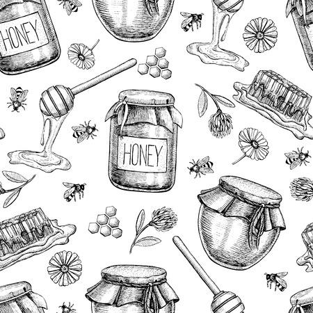 miel de abeja: miel Vector patrón transparente. dibujado mano Vintage fondo. alimentos orgánicos grabado Vectores
