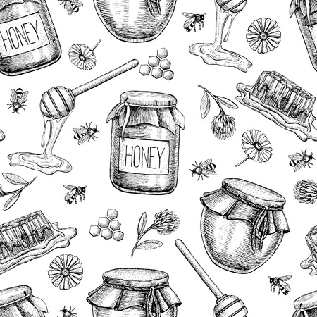 Vector honey seamless pattern. Vintage hand drawn background. Engraved organic food