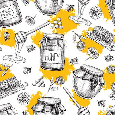 miel Vector patrón transparente. dibujado mano Vintage fondo. alimentos orgánicos grabado