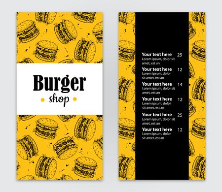 promote: Vector hand drawn burger menu. Vintage hand drawn illustration for your business. Great for fast food menu, flyer, brochure, our business promote. Illustration