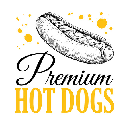 hot dog label: Vector vintage hot dog label. Hand drawn monochrome fast food illustration. Great for logo element, poster, icon, sticker or label.