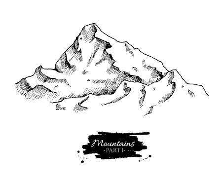 Vector mountains drawing. Hand drawn mountains illustrations. Great for travel, hiking, tourism, trekking business promoting. Illustration