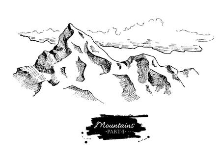 Vector bergen trekken. Hand getrokken bergen illustraties. Ideaal voor reizen, wandelen, toerisme, trekking bedrijfsleven bevorderen.