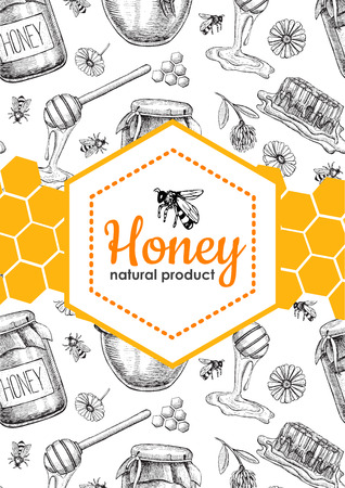 Vector honey bee hand drawn illustrations. Honey jar, bee, honeycomb, flower objects. Honey banner, poster, label, brochure template for business promote.  イラスト・ベクター素材