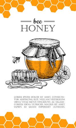 ベクター ミツバチは手描きのイラストです。蜂蜜の瓶、蜂、蜂の巣、花のオブジェクト。バナー、ポスター、ラベル、ビジネス用パンフレットのテ