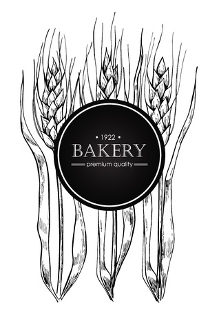Vector vintage bread and bakery illustration. Hand drawn banner. Great for label, banner, flyer, card, business promote.