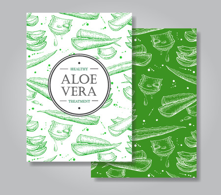 hand drawing: Vector aloe vera hand drawn illustrations. Detailed drawing. Aloe Vera banner, poster, label, brochure template for business promote.