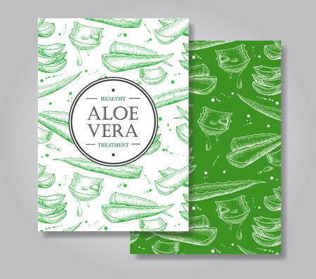 Vector aloe vera hand getekende illustraties. Gedetailleerde tekening. Aloë Vera banner, affiche, etiket, brochure sjabloon voor het bedrijfsleven te promoten. Stockfoto - 54859515