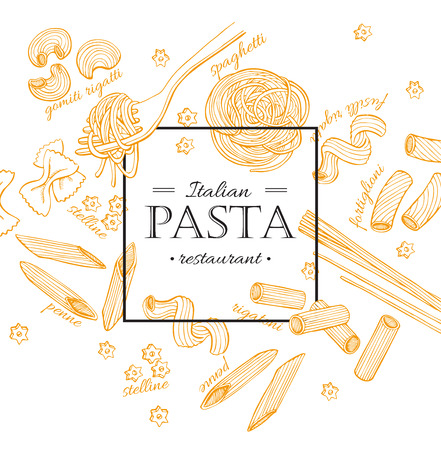Vector vintage italian pasta restaurant illustration. Hand drawn banner. Great for menu, banner, flyer, card, business promote.