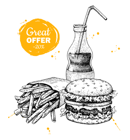 french: Vector vintage fast food special offer. Hand drawn monochrome junk food illustration. Soda, burger and french fries drawing. Great for poster, banner, voucher, coupon, business promote.