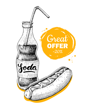 promote: Vector vintage fast food special offer. Hand drawn monochrome junk food illustration. Soda and hot dog. Great for poster, banner, voucher, coupon, business promote.