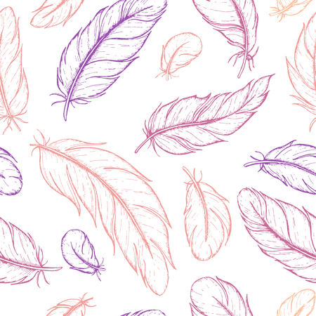 etch: Vector seamless pattern of hand drawn feather. Ink feather vintage illustration. Detailed drawing in boho style. Great for rustic wedding decor.
