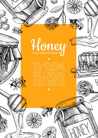 Vector honey bee hand drawn illustrations. Honey jar, bee, honeycomb, flower objects. Honey banner, poster, label, brochure template for business promote. Stock Illustratie