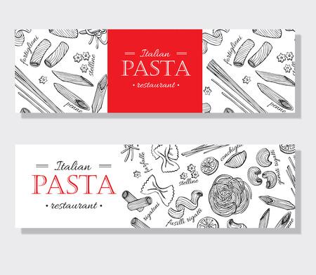 ベクトル ヴィンテージのイタリアン パスタ レストラン イラスト。手描き下ろしバナー。素晴らしいメニュー、バナー、チラシ、カード、ビジネス