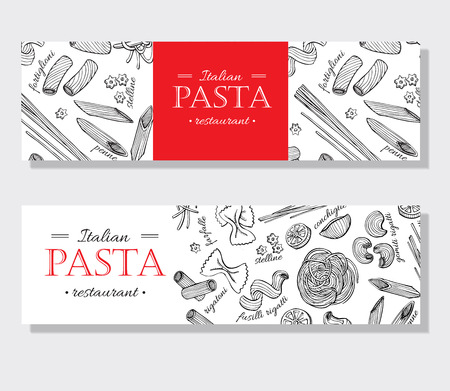promote: Vector vintage italian pasta restaurant illustration. Hand drawn banner. Great for menu, banner, flyer, card, business promote.